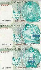 3 x 5000 verarbeitet Lire Banknoten-siehe Bilder