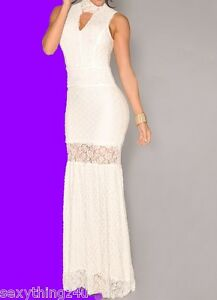 WHITE-LACE-HIGH-CUT-GOWN-MAXI-DRESS-Formal-Wedding-Cocktail-Choose-Size-10-12