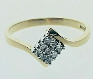 Vintage-Diamond-amp-9ct-Gold-Cluster-Twist-Marquise-Shape-Ring-1989-Size-N-1-9g