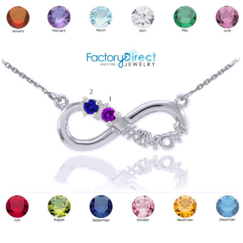 14K White Gold Infinity #1MOM Necklace Two CZ Birthstones Jan Feb March April