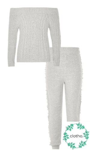 River Island Girls 5-6 Yrs Grey Jumper Top Bottoms Outfit Pearl Set New /& Sealed