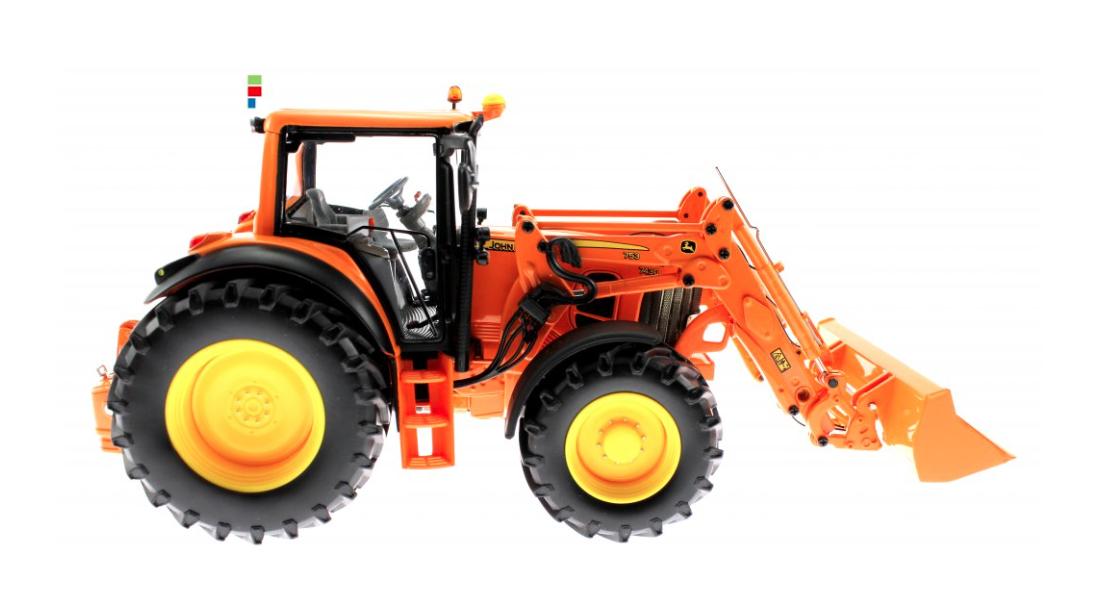Wiking 077342 John Deere 7430 trattore caricatore e accessori 1 32 modello da collezione