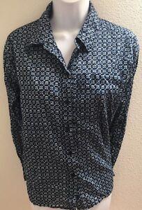 Michael-Kors-top-blouse-small-petite-ps-blue-print-long-sleeves-womens-cotton