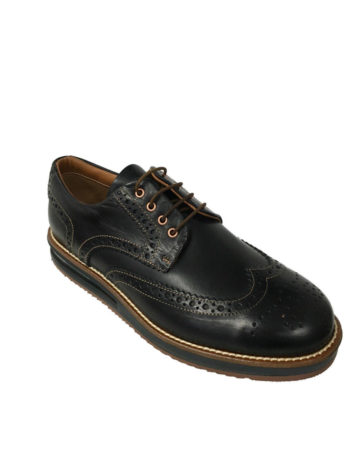 BARLEYCORN zapatos de hombre abrochada negro mod COWHIDE 100% piel MADE IN ITALY