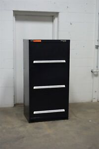 Image Is Loading Used Stanley Vidmar 3 Drawer Shallow Depth Cabinet