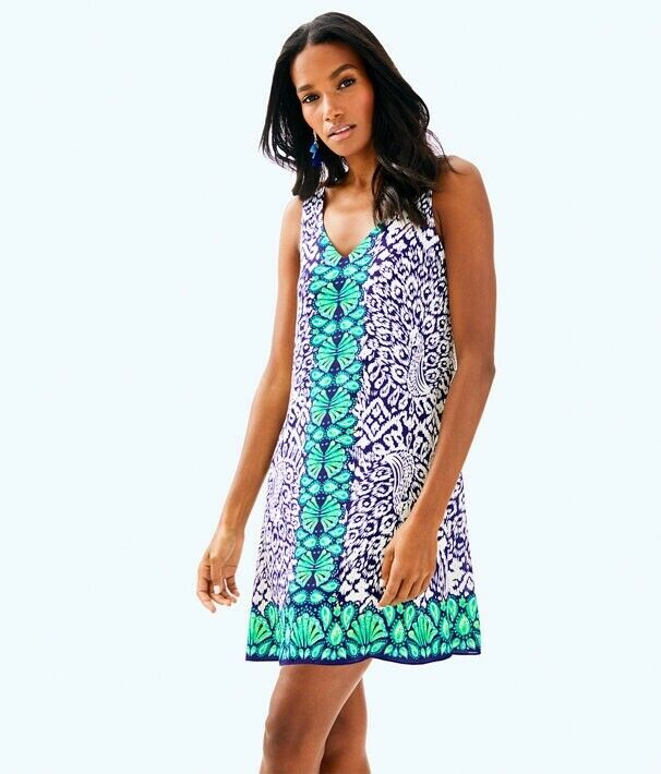 Lilly Pulitzer NWT Florin Sleveless V-Neck Dress - Bright Navy- XS