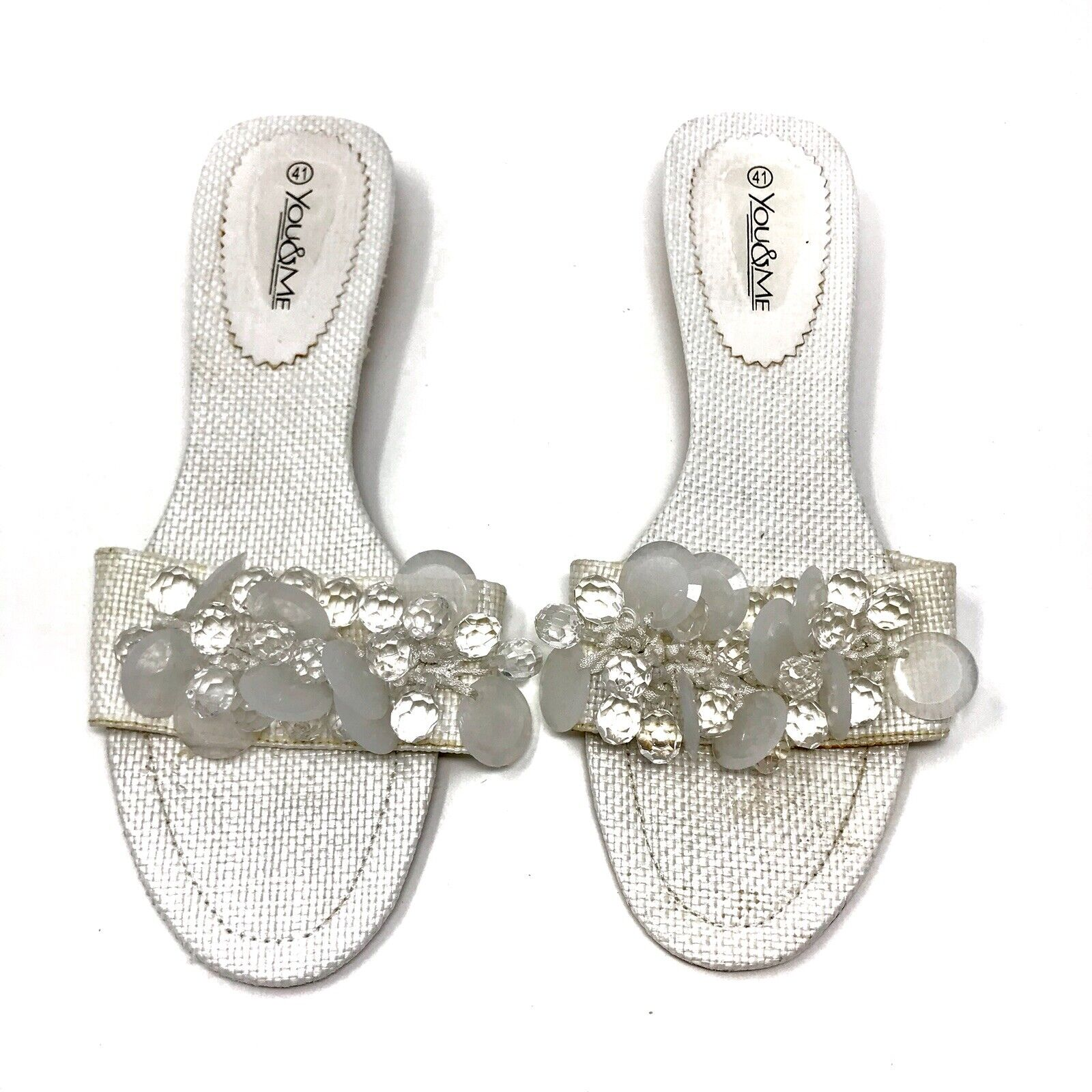 Vous & MOI blanc embelli Sandales chaussures Taille US10.5   IT41