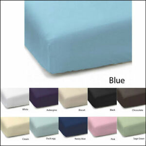 Plain-Dyed-68-Pic-Polycotton-Fitted-Sheet-Size-Single-Double-King-Supper-King