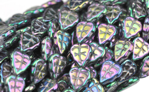 25 Czech Glass Leaf Beads 10mm  Opaque /& Transparent Colors Choice Of Color