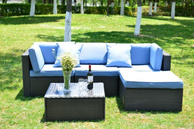 5 PCS Patio Furniture Sectional Sofa Set Outdoor Rattan Wicker Sofa  Cushions New
