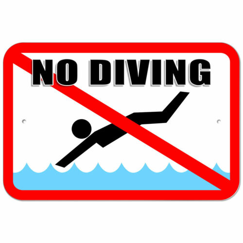 Plastic Sign No Diving Pool Area