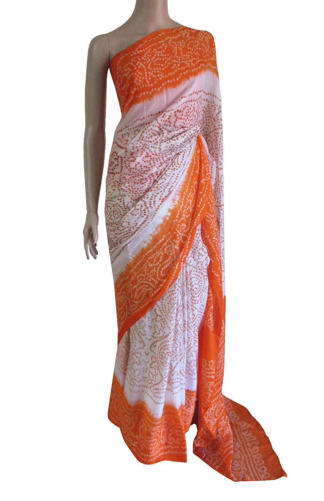 Party Wear Bollywood Traditional orange White Silk Bandhani Bridal Saree SALE