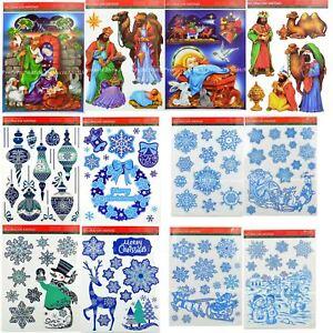 Christmas Window Stickers Snowflakes Decorations Xmas Home Decor Religious Santa
