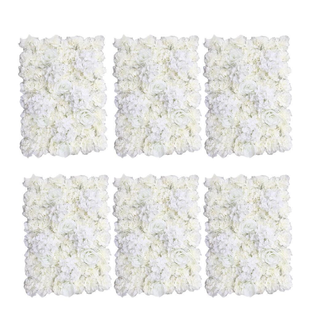 6pcs Artificial Flower Wall Panel Home Shop Wedding Floral Decor Cream