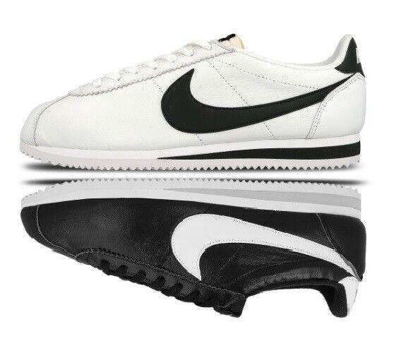 Nouveau Homme Garçons Nike Cortez Classic Premium Chaussures Baskets Noir Blanc