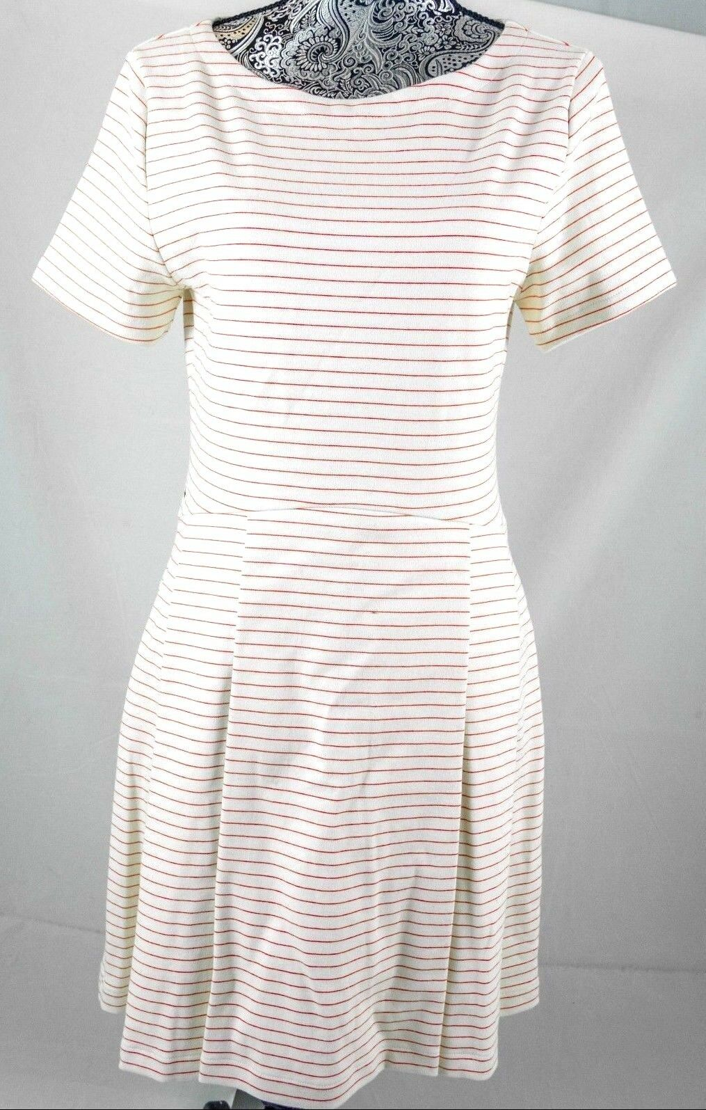 Lacoste White Striped Cap Sleeve Dress  195 Size 40 8 EF8266 BNWT 100% Authentic