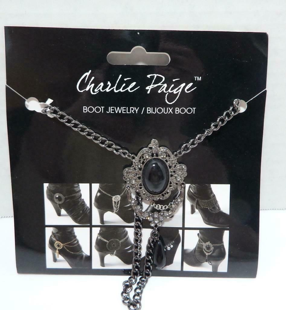 Charlie Paige Boot Jewelry New in package Jet Black Stones Rhinestones