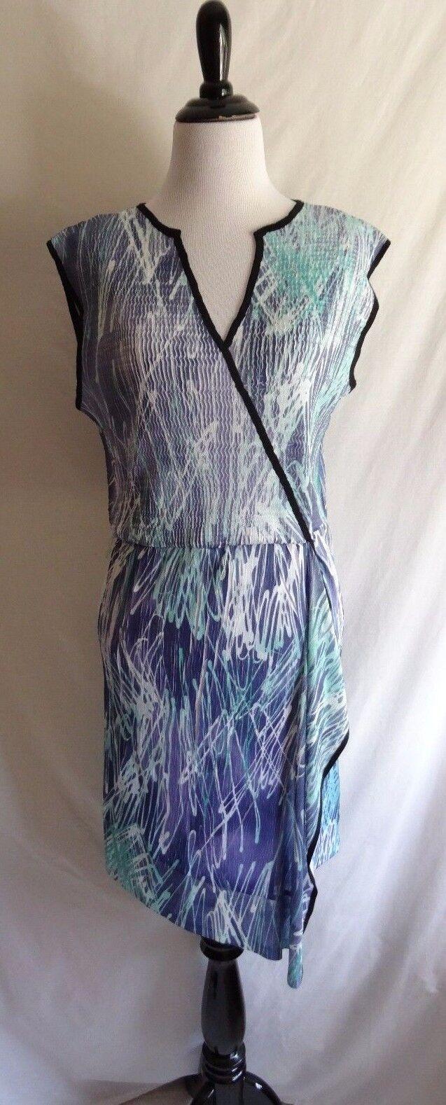 Komarov L bluee Artsy Abstract Charmeuse Crinkle Career Faux Wrap Draped Dress