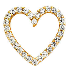 "14k Yellow Gold 0.25 Ct Diamond Open Heart Pendant for Necklace 5/8"" 0.9 gr"