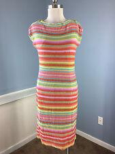 Ralph Lauren Multi Color Stripe Knit Dress Sheath Career Cocktail M L EUC