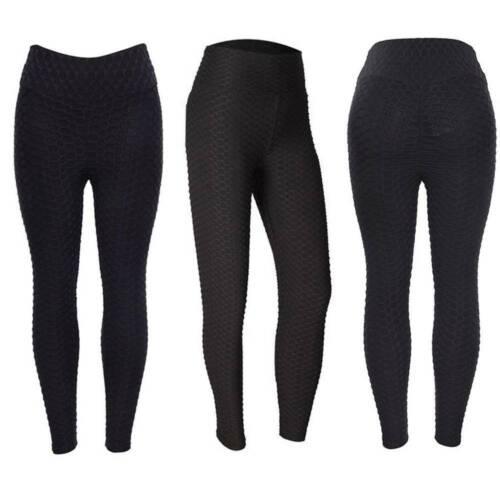 Womens Push Up Yoga Gym Anti-Cellulite Leggings Fitness Solid Butt Lift Pants UK