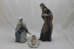 Lladro-Nao-Holy-Family-St-Joseph-Mary-amp-Jesus-3-Piece-Nativity-Set-306-307-312