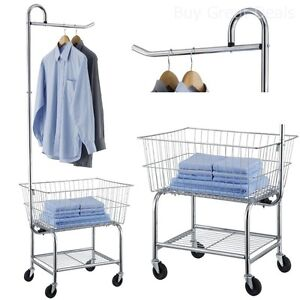 Laundry Cart Industrial Wheels Valet Hanging Bar Large Size