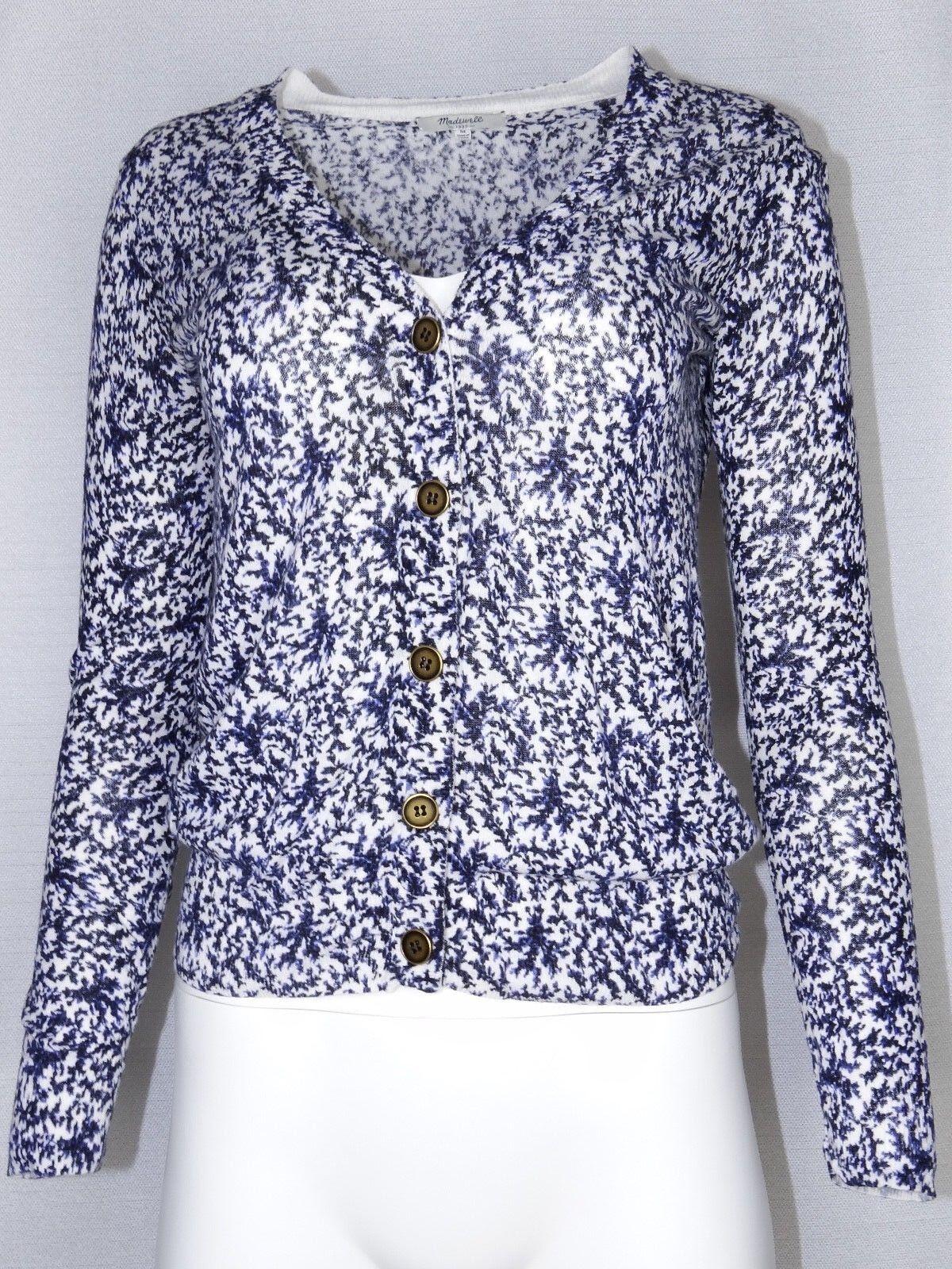 Madewell 1937 Sm-Medium Cardigan Sweater Button White Floral Vine 46431