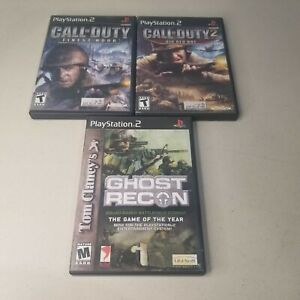 Lot-Of-3-PS2-Games-Call-Of-Duty-Finest-Hour-COD-2-Big-Red-One-Ghost-Recon