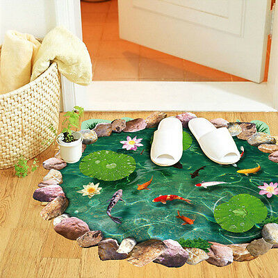 Removable 3D Fish Pond Home Shower Room Art Decoration Wall Sticker Mural Vinyl