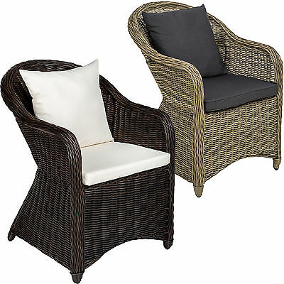 different colours - brown mixed | no. 401975 seat cushion and back cushion TecTake Luxury aluminium wicker chair seat armchair garden conservatory poly rattan natural