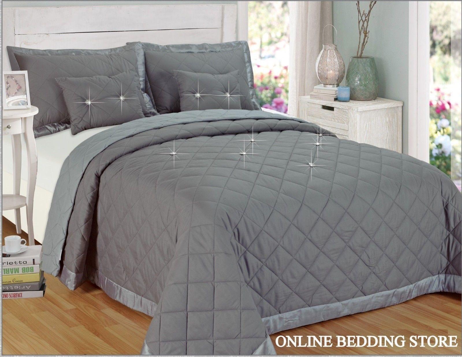 Luxury 5 Piece Beautiful Bedspread  Diamond Reversible Comforter set   grau