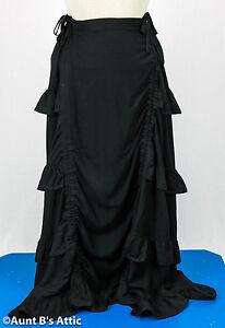 Steampunk Jupe Noir Rayon Froncé Devant à Volants Long Femmes Jupe Costume S-4x