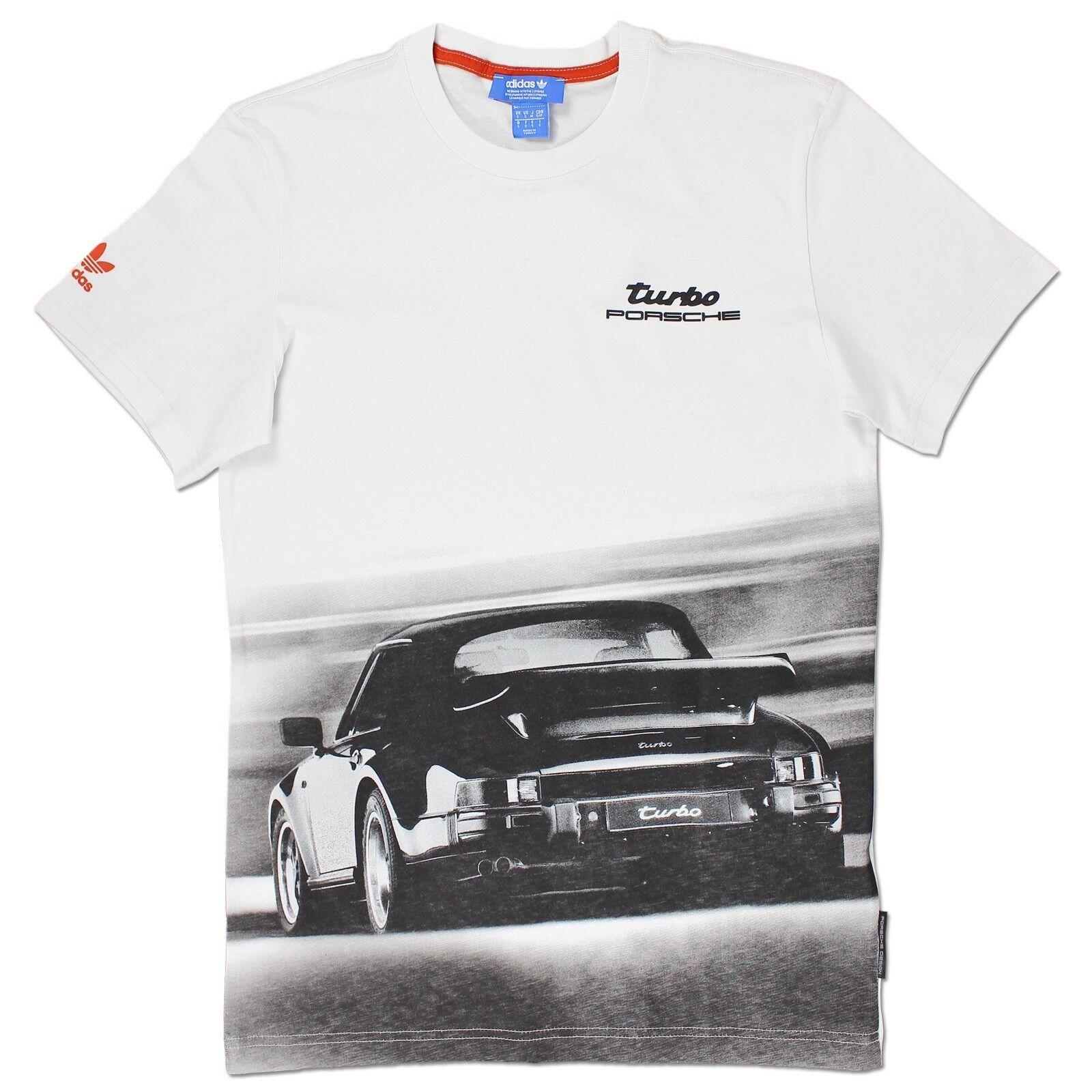 ADIDAS Originals Uomo Porsche 911 Turbo Design Tee Shirt Bianco Vintage S-XXL