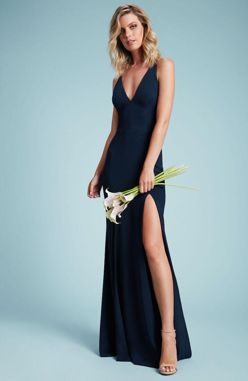 288 Neuf avec étiquettes robe la population Bridal Iris Fente Bleu Marine Robe Taille M
