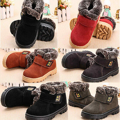 Kid Snow Boots Children Toddler Boys Girls Winter Warm Fur Lined Ankle Shoes UK