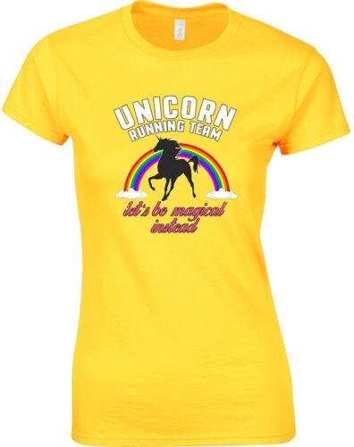 Unicorn Running Team Ladies Printed T-Shirt
