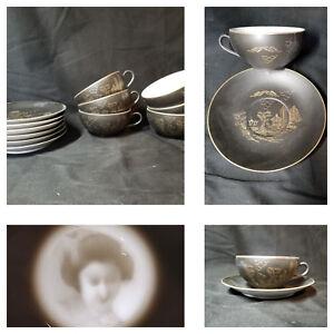 Vtg-Eggshell-Porcelain-Tea-Set-12pc-Lithophane-Satsuma-Kutani-Geisha-Demitasse