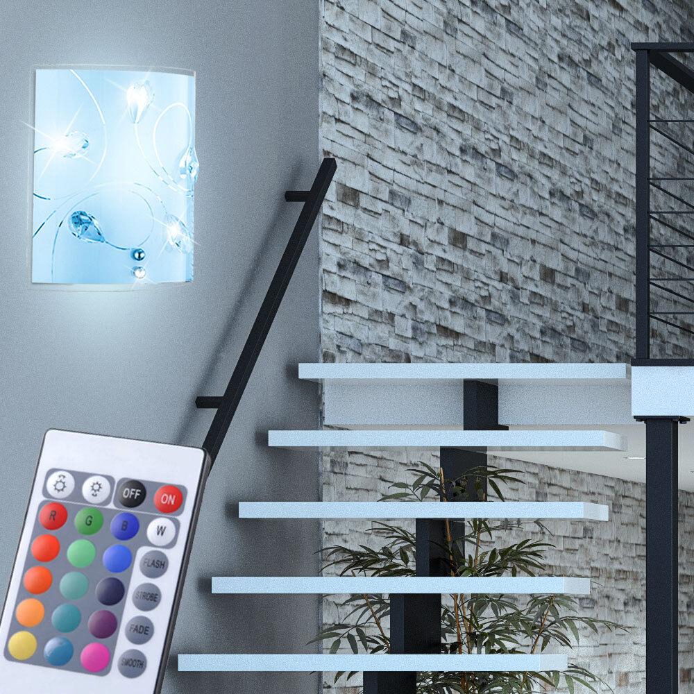 Applique LED RVB 7W luminaire mural lampe verre cristaux télécommande couloir