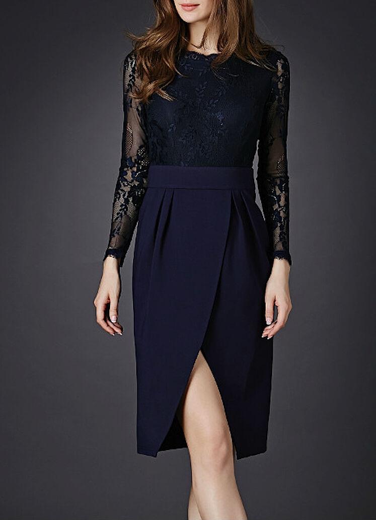 Vestito Donna Pizzo Manica Lunga - Dress Dress Dress Donna Lace Patchwork OB14518 868d4b