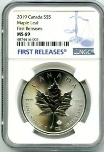 2019-5-CANADA-1-OZ-SILVER-MAPLE-LEAF-NGC-MS69-RARE-FIRST-RELEASES-BLUE-LABEL