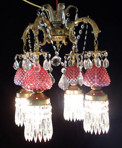 Victorian style chandelier vintage cranberry fenton glass spelter image is loading victorian style chandelier vintage cranberry fenton glass spelter mozeypictures Choice Image
