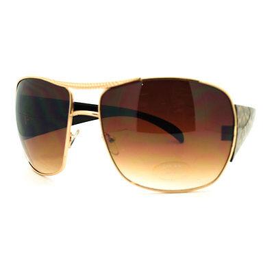 Thick Arm Animal Print Large Oversized Fashion Aviator Sunglasses - Gold Leopard