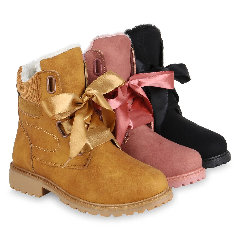Damen Worker Boots Kunstfell Stiefeletten Outdoor Gefüttert 819804 Schuhe
