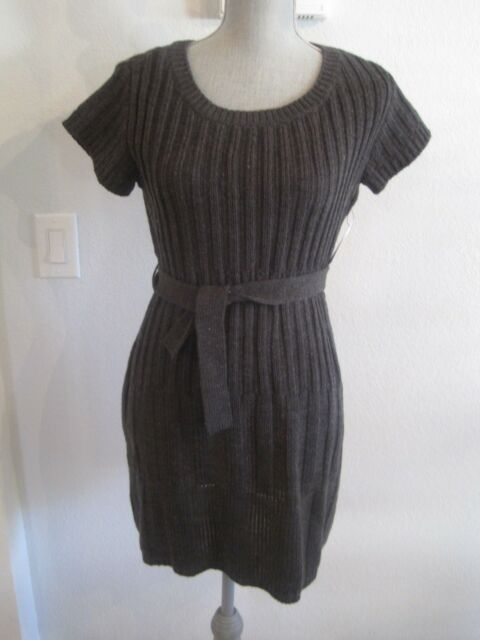Jessica Simpson Dark Charcoal Gray Cable Knit Aurelio Belted Sweater