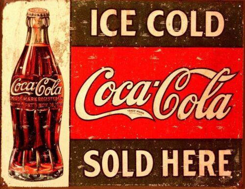 1916 Ice Cold Vintage Rustic Retro Tin Metal Sign 13 x 16in C Coke