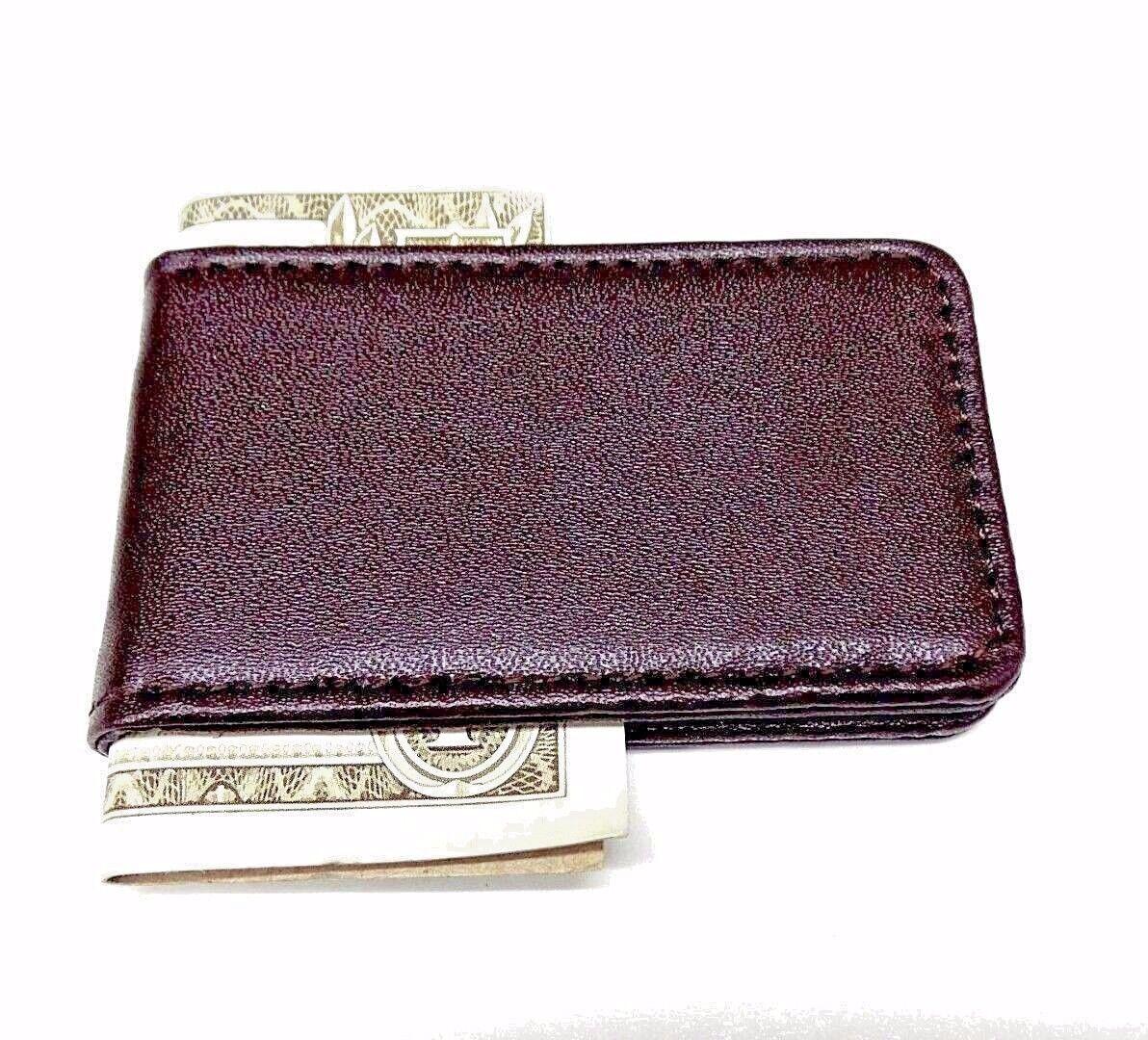 Brown Money Clip Leatherette Magnetic Cash Credit Card Wallet Clipper