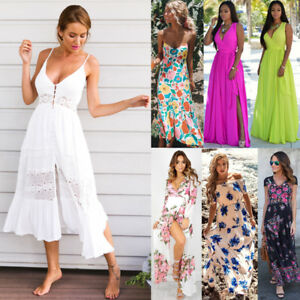 96dacc873e Image is loading Womens-Summer-Boho-Maxi-Dress-Evening-Cocktail-Party-