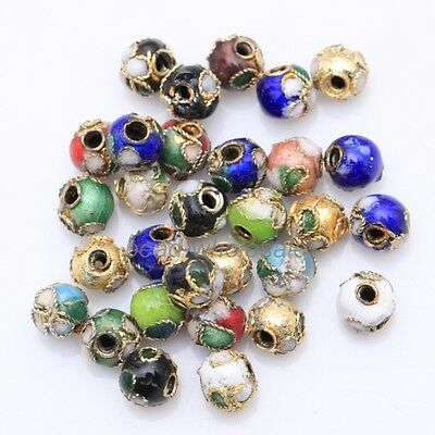 Wholesale 110pcs Mixed Cloisonne Enamel Round Spacer Loose Beads 6mm