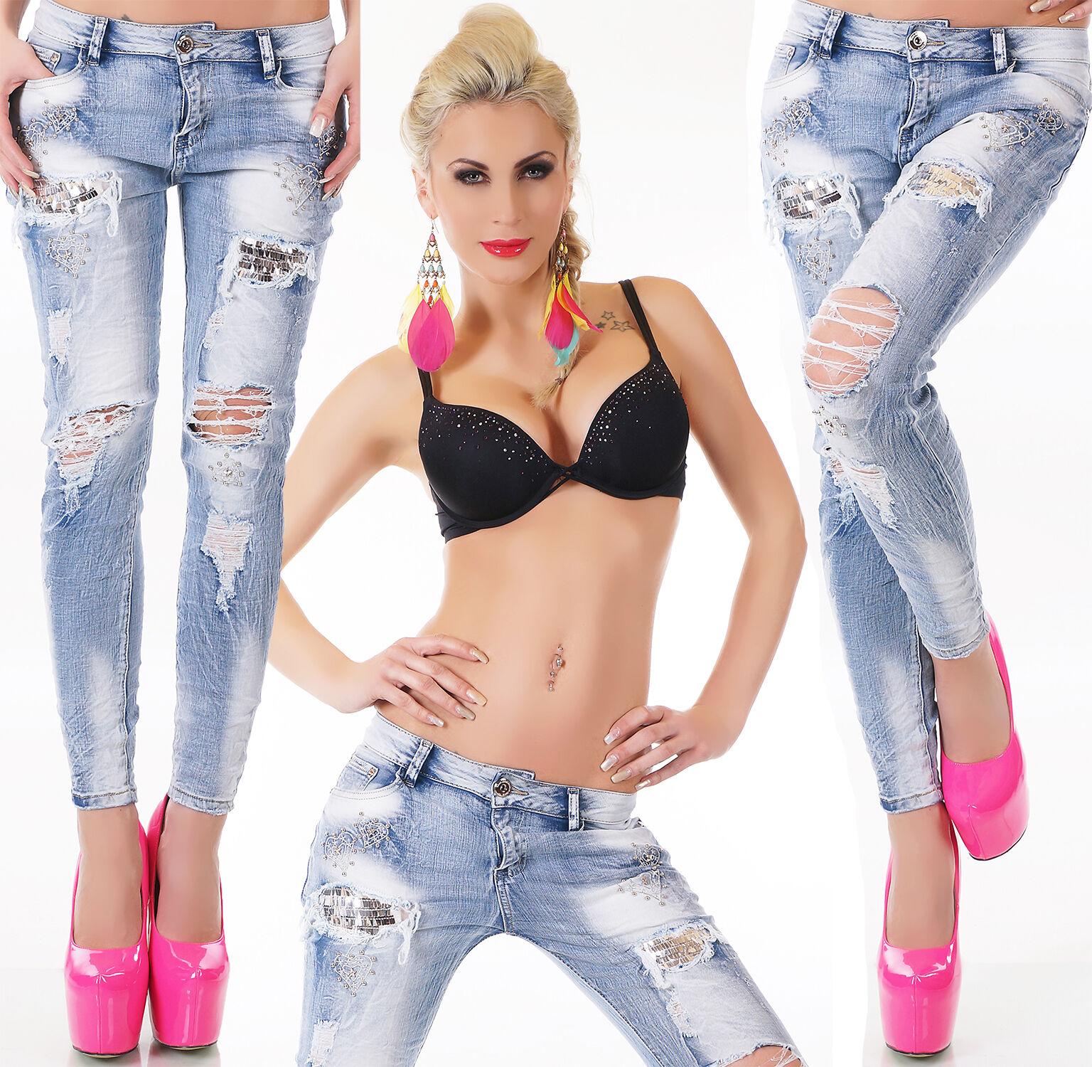 Damen Jeans Hose Röhrenjeans Skinny Stretch Destroyed Vintage Pailletten XS-XL